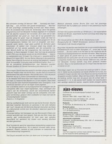 Clubnieuws Ajax (vanaf 1916) 1985-03-01