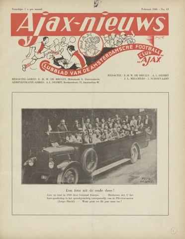 Clubnieuws Ajax (vanaf 1916) 1948-02-01