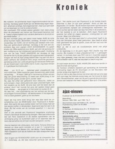 Clubnieuws Ajax (vanaf 1916) 1984-04-01