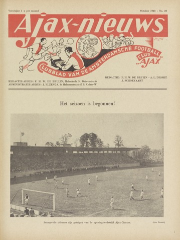 Clubnieuws Ajax (vanaf 1916) 1948-10-01