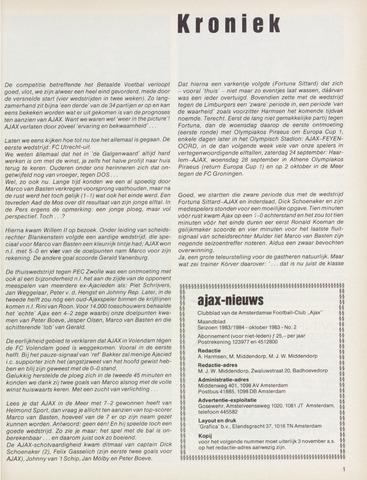 Clubnieuws Ajax (vanaf 1916) 1983-10-01