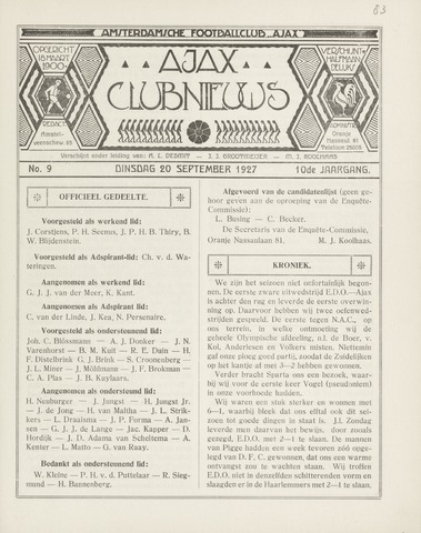 Clubnieuws Ajax (vanaf 1916) 1927-09-20