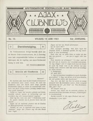 Clubnieuws Ajax (vanaf 1916) 1923-06-15