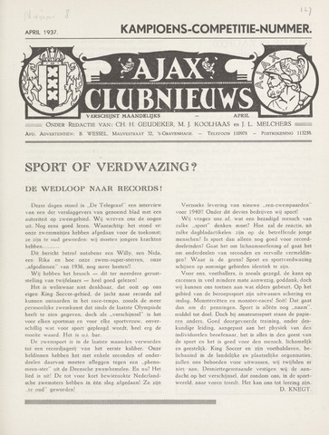 Clubnieuws Ajax (vanaf 1916) 1937-04-01