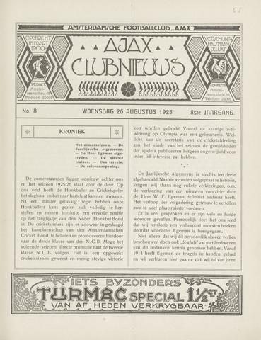 Clubnieuws Ajax (vanaf 1916) 1925-08-26