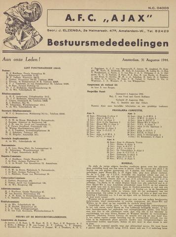 Clubnieuws Ajax (vanaf 1916) 1944-08-31