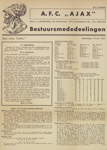 Clubnieuws Ajax (vanaf 1916) 1944-07-29