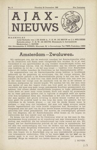 Clubnieuws Ajax (vanaf 1916) 1940-12-24