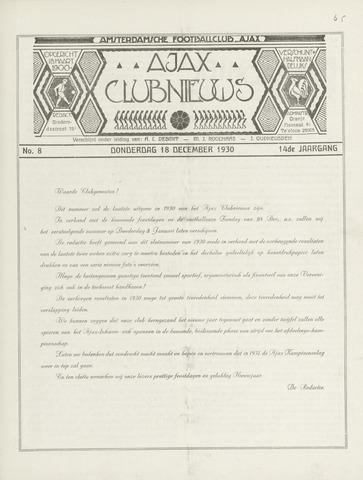 Clubnieuws Ajax (vanaf 1916) 1930-12-18