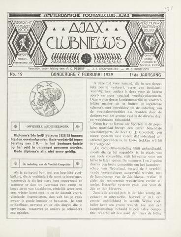 Clubnieuws Ajax (vanaf 1916) 1929-02-07