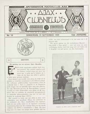 Clubnieuws Ajax (vanaf 1916) 1929-09-19