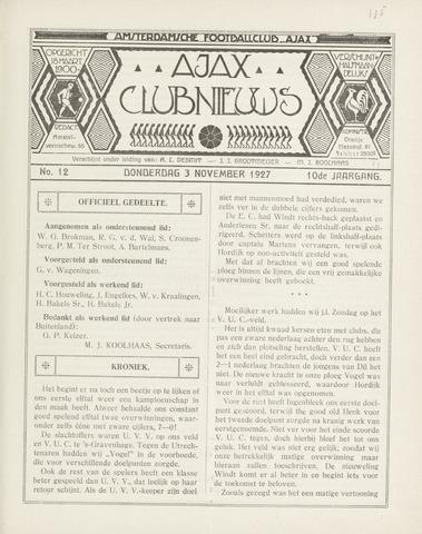 Clubnieuws Ajax (vanaf 1916) 1927-11-03