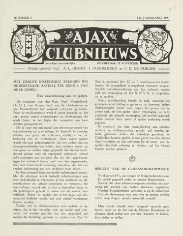 Clubnieuws Ajax (vanaf 1916) 1931-11-12