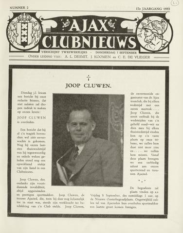 Clubnieuws Ajax (vanaf 1916) 1933-09-07