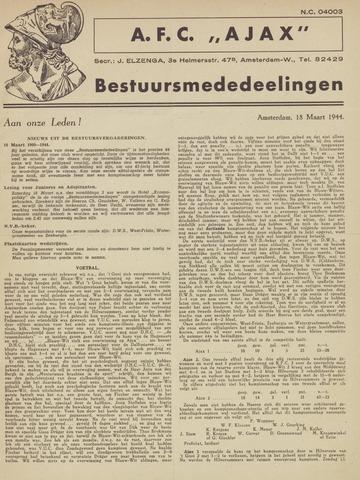 Clubnieuws Ajax (vanaf 1916) 1944-03-18