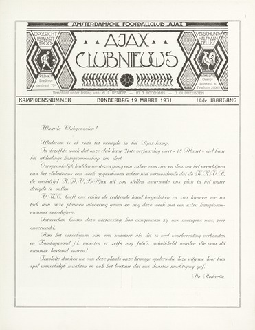 Clubnieuws Ajax (vanaf 1916) 1931-03-19