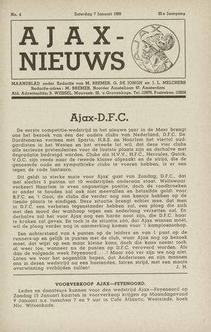 Clubnieuws Ajax (vanaf 1916) 1939