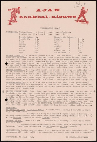 Honkbal nieuws (1963-1972) 1968-06-10
