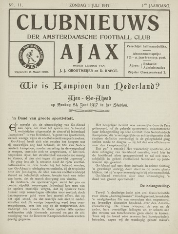 Clubnieuws Ajax (vanaf 1916) 1917-07-01