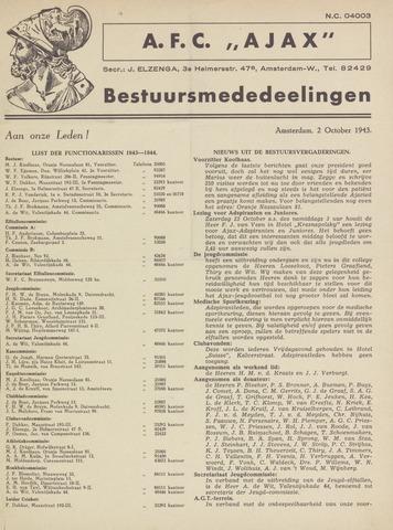 Clubnieuws Ajax (vanaf 1916) 1943-10-02
