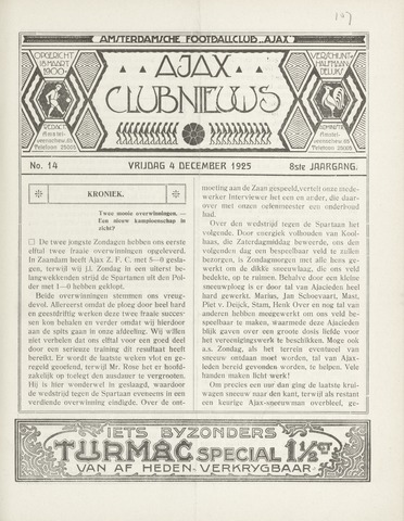 Clubnieuws Ajax (vanaf 1916) 1925-12-04