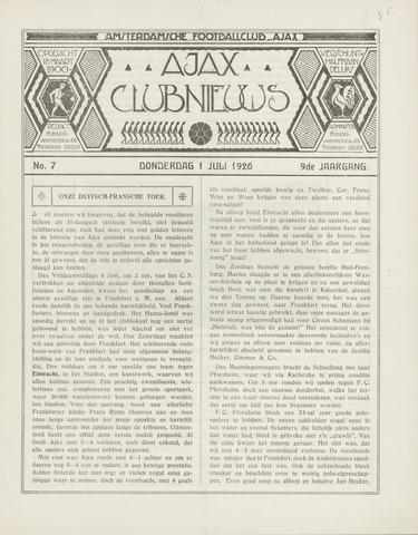 Clubnieuws Ajax (vanaf 1916) 1926-07-01