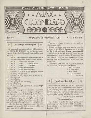 Clubnieuws Ajax (vanaf 1916) 1923-08-15