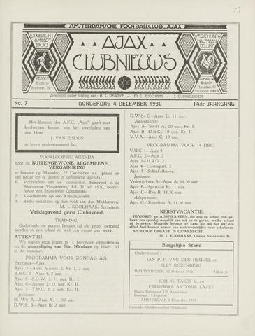 Clubnieuws Ajax (vanaf 1916) 1930-12-04