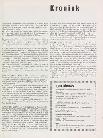 Clubnieuws Ajax (vanaf 1916) 1981-09-01