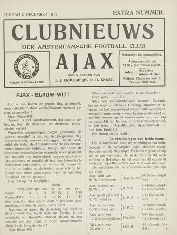 Clubnieuws Ajax (vanaf 1916) 1917-12-02