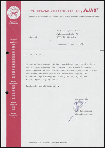 Voetbal divers 1984-03-05