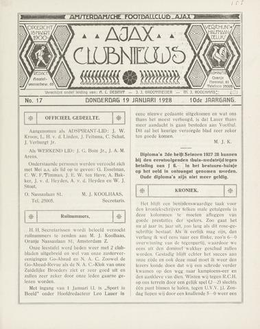 Clubnieuws Ajax (vanaf 1916) 1928-01-19
