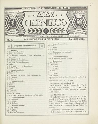 Clubnieuws Ajax (vanaf 1916) 1928-08-23