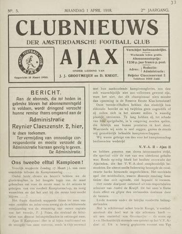 Clubnieuws Ajax (vanaf 1916) 1918-04-01
