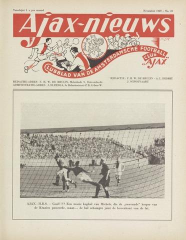 Clubnieuws Ajax (vanaf 1916) 1949-11-01