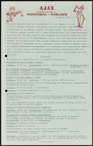 Honkbal nieuws (1963-1972) 1971-04-19
