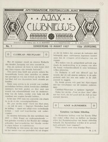 Clubnieuws Ajax (vanaf 1916) 1927-03-10