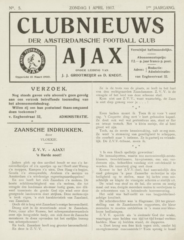 Clubnieuws Ajax (vanaf 1916) 1917-04-01