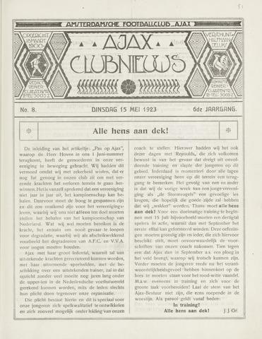 Clubnieuws Ajax (vanaf 1916) 1923-05-15