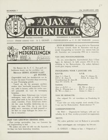 Clubnieuws Ajax (vanaf 1916) 1931-12-24