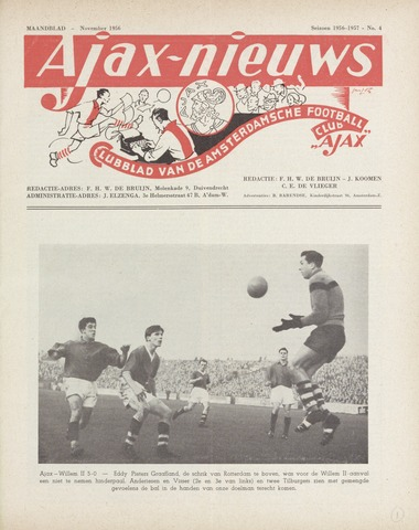 Clubnieuws Ajax (vanaf 1916) 1956-11-01