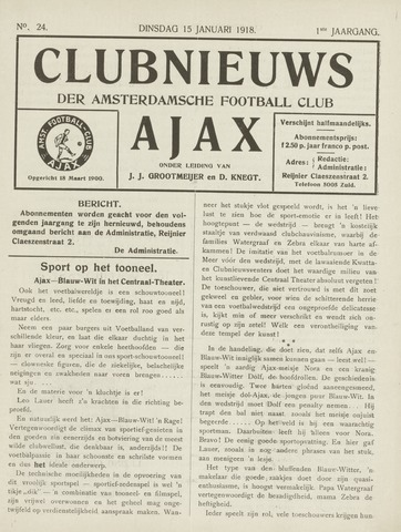 Clubnieuws Ajax (vanaf 1916) 1918-01-03
