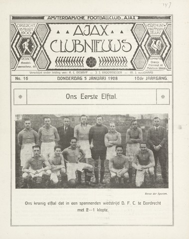 Clubnieuws Ajax (vanaf 1916) 1928-01-05