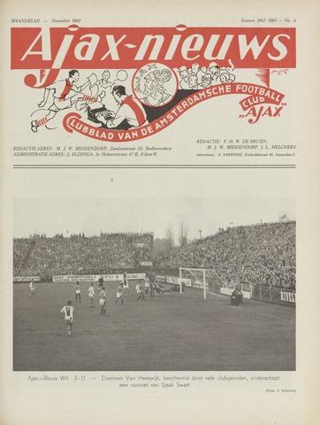 Clubnieuws Ajax (vanaf 1916) 1962-11-01
