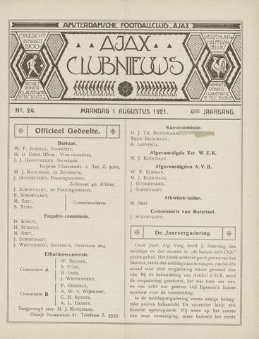 Clubnieuws Ajax (vanaf 1916) 1921-08-01