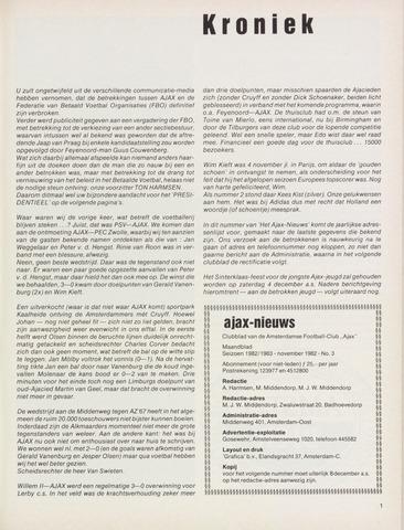 Clubnieuws Ajax (vanaf 1916) 1982-11-01