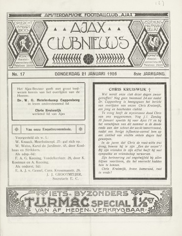 Clubnieuws Ajax (vanaf 1916) 1926-01-21