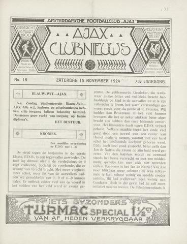 Clubnieuws Ajax (vanaf 1916) 1924-11-15