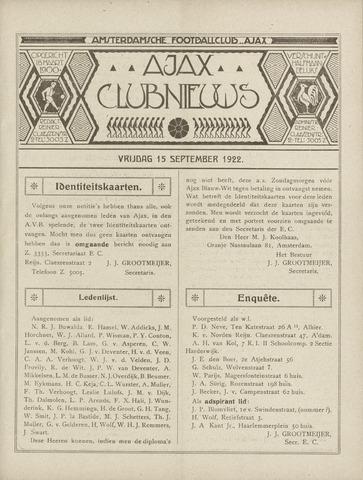 Clubnieuws Ajax (vanaf 1916) 1922-09-15