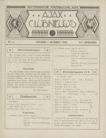 Clubnieuws Ajax (vanaf 1916) 1920-10-01